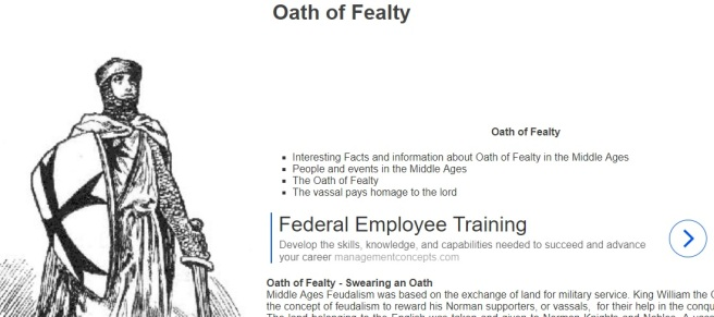Juxtaposed info about medieval fealty oath with ad for federal employee training